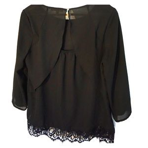 Lace-trim, three-quarter length sleeve blouse